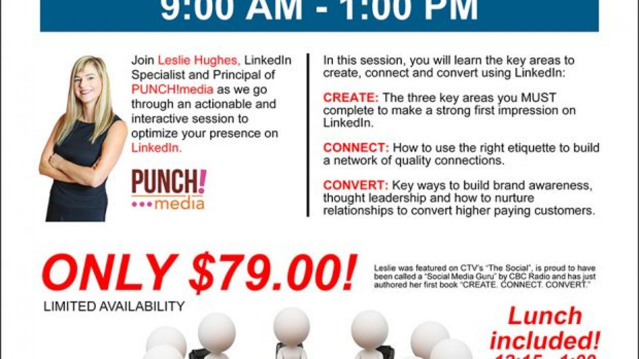 Join Leslie Hughes, LinkedIn Specialist and Principal of PUNCH!media as we go through an actionable and interactive session to optimize your presence on LinkedIn.